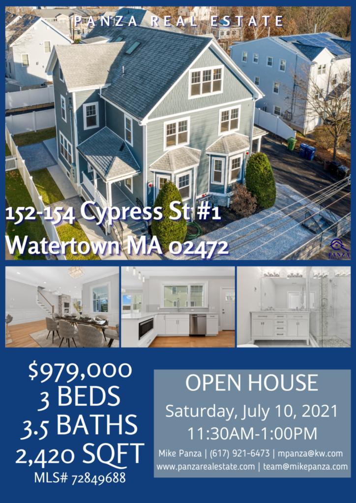 OPEN HOUSE: 152-154 Cypress St #1 Watertown MA 02472