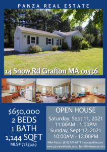 OPEN HOUSE: 14 Snow Rd Grafton MA 01536